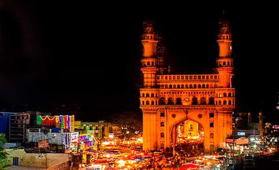 charminar during night with lights